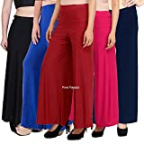 PIXIE lets work together! Women's Casual Wear Malai Lycra Comfortable Fit Palazzo Combo - Pack of 5 (Black, Blue, Maroon, Pink and Navy Blue, Free Size)
