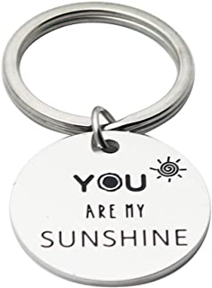 Ikunne Sunflower Charm Keychain You are My Sunshine Keychain Jewelry Gift for Women Girls, Stainless Steel Inspirational Gifts for Best Friends