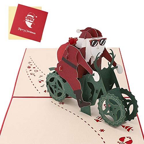 Sethexy 3D Cartoline natalizie Apparire Babbo Natale su una motocicletta Biglietti d'auguri con buste Romantico Regali di buon Natale per la famiglia migliore amico fidanzato fidanzata