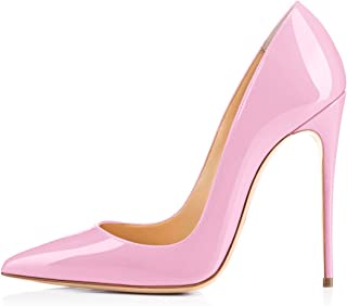 dddd77d3671f onlymaker Women s Sexy Pointed Toe High Heel Slip On Stiletto Pumps Large  Size Basic Shoes