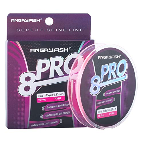 ANGRYFISH 8-PRO Braided Fishing Line - Extra Thin Diameter-Proprietary Weaving Tech- Exceptional Strength-Enhanced Smoothness-Zero Stretch(Pink,30LB/0.20MM-125YD)