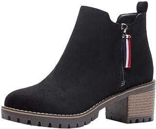 Zanpa Women Causal Martin Booties Square Heels Zipper