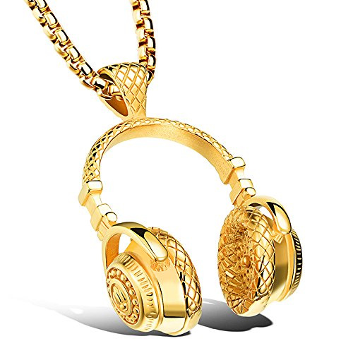 Apopo Cool Necklace Stainless Steel Hip Hop Wireless Earphone Headphone Pendant Necklace for Men&Woman-gold2