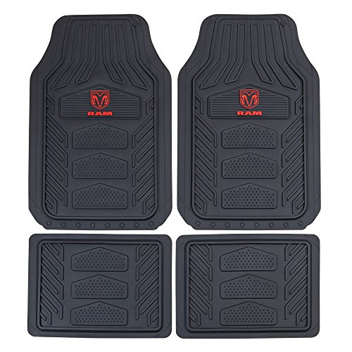 Plasticolor 001672R01 Weatherpro Black One Size Dodge Ram Logo Car Truck SUV Heavy Duty Rubber, 4 Piece Front and Rear Floor Mat Set
