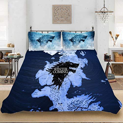 DCWE Juego de Tronos Juego de cama de 3 piezas con funda nórdica y fundas de almohada de microfibra, estampado 3D, 37, 200 x 200 cm