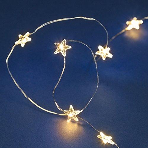 LuminalPark - Guirnalda a pilas 1,9 m, 20 estrellas transparentes con MicroLED blanco cálido y cable metálico para la Decoración del Hogar y Navidad
