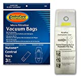 EnviroCare Replacement Micro Filtration Cleaner Dust Bags for Nutone Central Vacuums 3 Pack, White