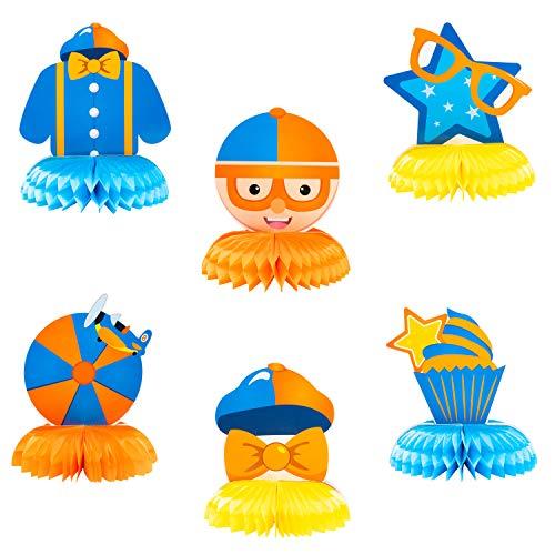 Haooryx 6 Stück wissenschaftliche Kognition Blipi Wabenaufsatz Tischdekoration 3D Wabenball für Kinder Blau und Orange Geburtstag Party Favor Supplies Raumdekor Babyparty Decor Photo Booth Requisiten