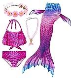 Conjunto de 5 Piezas Cola de Sirena para Nadar para niñas Traje de baño Sirena Incluyendo Coronas y Collares (HXGB07,120)