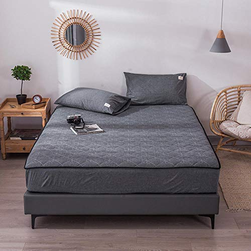 GTWOZNB Extra Deep Fitted Bed Sheet Hotel Quality Fitted Bed Sheets Bed sheet thickened household simple-low-key gray a80_150*200+30cm