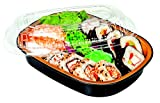 Small 23 oz. Black & Gold Aluminum Foil Smooth-Wall Pan with Clear Dome Lid - For Meal Prep Microwaveable Disposable Heavy Duty (Pack of 10 Sets)