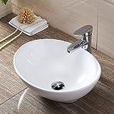 洗面ボウル Lifinsky 洗面台 白陶器製 手洗いボウル 舟型洗面器 ベッセル式 手洗器 排水金具付き 410x340x143mm
