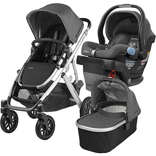 2018 UPPABaby Vista Stroller - Jordan (Charcoal Melange/Silver/Black Leather) + MESA- Jordan (Charcoal Melange) Merino Wool Version