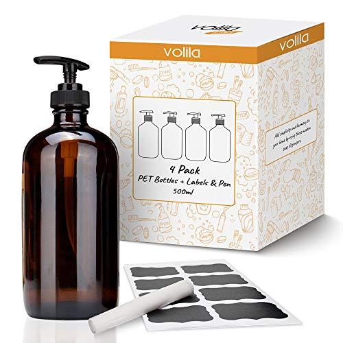 volila Botellas dispensadoras de jabón para lociones y jabones caseros con una Capacidad de 500 ml para el baño, la higiene del hogar y el desinfectante de Manos (Paquete de 4)