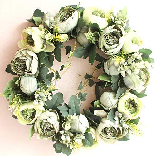 Dseap Wreath - Peony Flower Wreath, Floral Wreath, Door Wreaths for Front Door, 17-Inches, Green