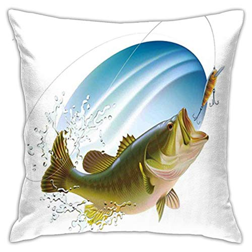 GULTMEE Pillowcases,Fishing,Largemouth Sea Bass Catching a Bite in Water Spray Motion Splashing Wild Fish Theme Image,Green Blue,Decorative Square Accent Throw Pillow Cushion Cover,20' X 20'inches