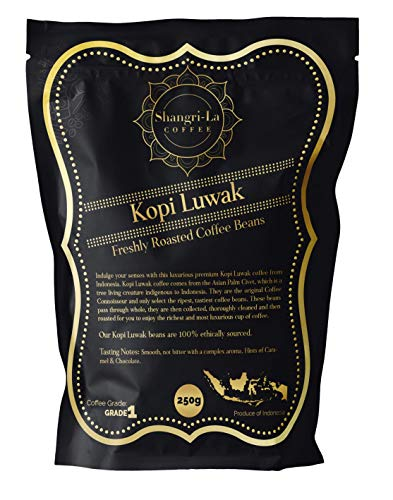 Shangri-La Coffee - Wild Kopi Luwak Coffee Whole Beans - Ethically Sourced - 250 Grams (8.8oz) (Other Weights & Bean Types Available) - Produce of Indonesia