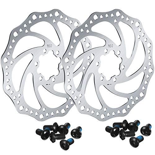 2 Pezzi Rotori di Bicicletta 160 mm del Freno a Disco con 12 Bulloni Acciaio Inossidabile Viti di Rotori di Biciclette per Accessori Compatibile con Bici da Strada, Mountain Bici, MTB, BMX (Card DOT)