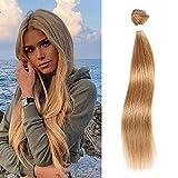 X-Tress Extensión de cabello humano para mujeres de grado 10 A, cabello humano brasileño recto, paquete único, color rubio miel, 100% sin procesar, cabello humano (12 pulgadas)