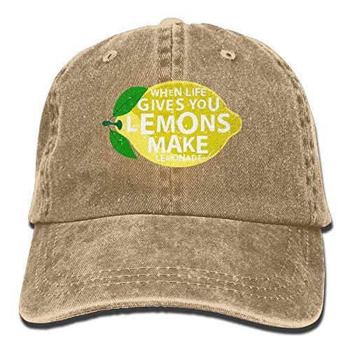 sodnz Strapback Hut Leben gibt Ihnen Zitronen, Machen Limonade Retro verstellbare Baseballmützen Denim Sonnenhut