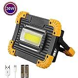 Projecteur LED Rechargeable 20 W 2000lm,3 Modes Blanc Froid Lampe Led Rechargeable,Projecteur Portable et SOS(Lumière Rouge et...