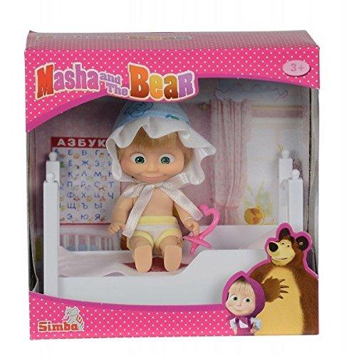 Simba 109301821 - Mascha und der Bär - Mascha Puppe mit Bett
