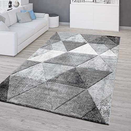 TT Home Alfombra Salón Pelo Corto Vintage Diseño Moderno Geométrico Efecto 3D En Gris, Größe:80x150 cm