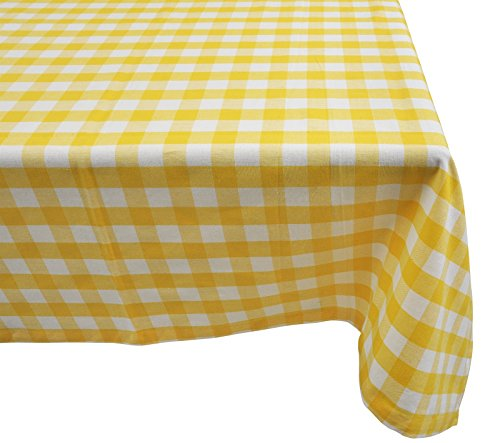 Yourtablecloth 100% Cotton Checkered Buffalo Plaid Tablecloth –for Home, Restaurants, Cafés – Be it for Everyday Dinner Picnic or Occasions Like Thanksgiving 60 x 84 Rectangle/Oblong Yellow and White