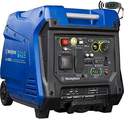 Westinghouse iGen4500DF Dual Fuel Portable Inverter Generator 3700 Rated & 4500 Peak Watts, Gas & Propane Powered, Electric Start, RV Ready, CARB Compliant  & Eligible for Garden Generators inverter Lawn Monthly Patio Payments Products Westinghouse