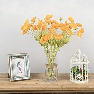 5pcs Artificial Flower Bouquets Artificial Corn Poppy Flowers Bouquets&Papaver rhoeas&Coquelicot Bunches (Orange)