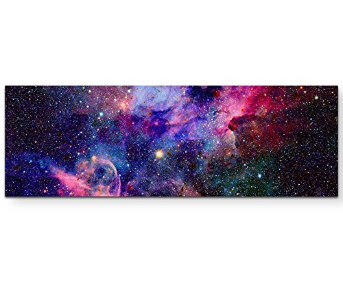 Paul Sinus Art Nebel und Galaxien im Weltraum - Panoramabild auf Leinwand in 150x50cm