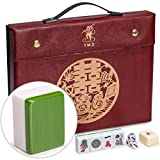 Yellow Mountain Imports Professional Chinese Mahjong Game Set, Double Happiness (Green), with Red Leatherette Case, 146 Medium Size Tiles, 3 Dice and a Wind Indicator - for Chinese Style Game Play