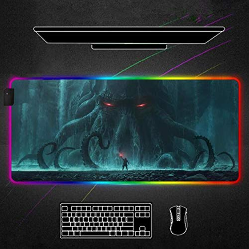 Mouse Pads Cthulhu Monster RGB Mouse Pad Black Gamer Large LED Gaming Desk Mats PC with Backlit 24x12x0.15 inch