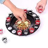 WELLGRO® Trinkspiel Roulette - mit 1 Roulette-Rad, 16 Schnapsgläser und 2 Spielkugeln - Party-Spaß, bei dem der Zufall entscheidet - 9
