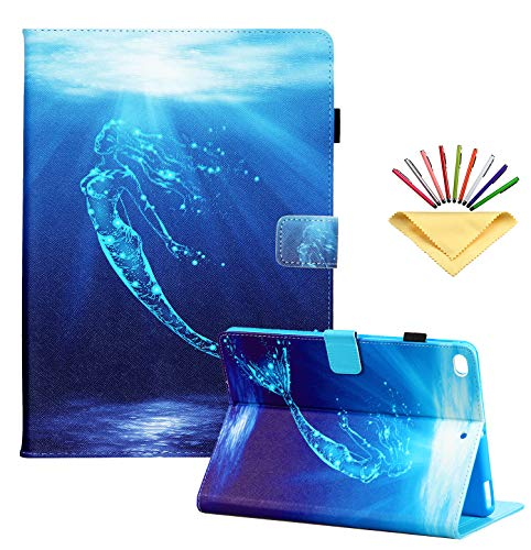 Uliking for New Apple iPad 8th Generation 2020 /iPad 7th Gen (2019) 10.2 inch Case - with Pencil Card Holder [Auto Sleep/Wake] Folio Stand PU Leather Magnetic Smart Wallet Cover, Blue Glitter Mermaid