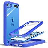 PZOZ Case Compatible for iPod Touch 7th 6th 5th Generation, Built-in Screen Protector, Shockproof TPU Bumper & Crystal Clear Back, Dual Layer Rugged Cover for iPod Touch 7 6 5 Gen (Blue)