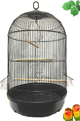 """Mcage Round Bird CAGE for Cockatiel Lovebird Finch Canary Aviary Budgie Parakeet (16"""" D x 29"""" H, Black)"""
