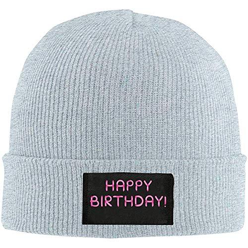 K.e.n Mens Womens Beanie Cap Gefeliciteerd voor verjaardag met roze ballonnen horloge hoed winter warme knit schedel muts cap