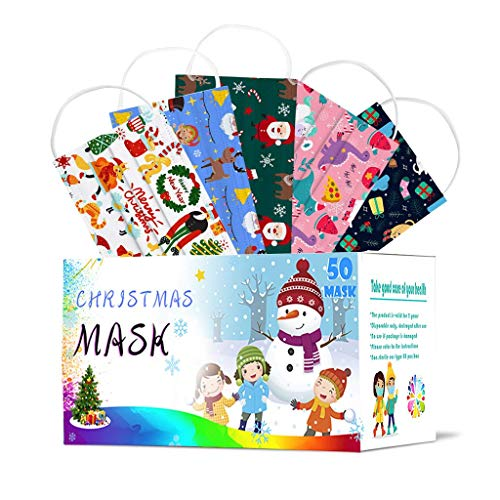 50PCS Children's Cute Christmas Print Cotton Face Scarf Soft 3 Ply Non-Woven Face Bandana for kids (C)