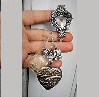 Poison Bottle CHATELAINE 1 Tiny Corked Bottle Perfume, Snuff, Ashes, Scrolled Heart Belt Clip, Vesta Sterling Hinged Heart, 925 Prayer Box