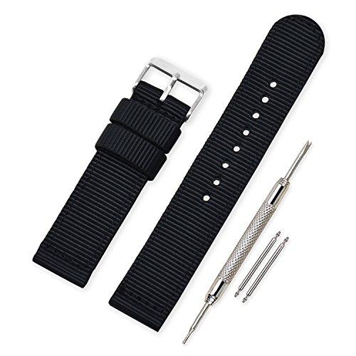 VINBANDUnisexMilitärNylonUhrenarmband mit Edelstahl Silberne Schnalle 22mm Schwarz