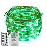 Erchen Batteriebetrieben LED Lichterkette, 33 FT 100 LED 10M dimmbare Kupfer Draht Lichterketten mit...