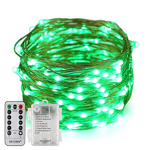 Erchen Battery Operated LED String Lights, Dimmable 33 FT 100 LED Ultra Thin Waterproof 8 Modes Timer Copper Wire Fairy Lights with 13 Key Remote Control for Indoor Outdoor Christmas Party (Green)