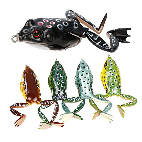 RUNCL Topwater Frog Lures with Legs, Soft Fishing Lure Kit with Tackle Box for Bass Pike Snakehead Dogfish Musky (Pack of 5)