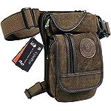CyberDyer Sac Banane en Toile, Style Tactique et Militaire, Multi-poches pour Randonnée, Camping, Activités de Plein Air, marron