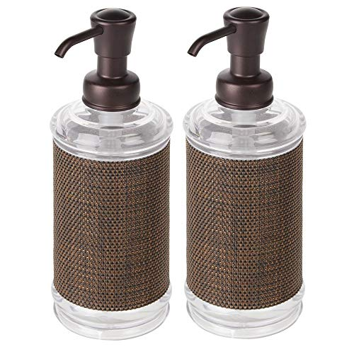mDesign Decorative Plastic Refillable Liquid Soap Dispenser Pump Bottle for Bathroom Vanity Countertop, Kitchen Sink - Holds Hand Soap, Dish Soap, Hand Sanitizer, Essential Oils, 2 Pack - Clear/Bronze