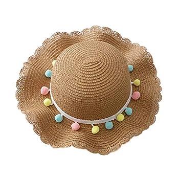 Children Kid Baby Girl Breathable Sun Tassel Balls Straw Hat Beach Cap Fisherman s Hat Sun Hat Visor Cap 2-10 Years   Khaki Hat Circumference  48-52cm
