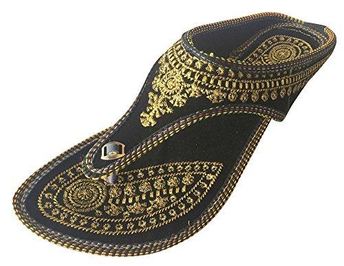 Step n Style Punjabi Jutti Indische Schuhe Flat Flop Khussa Schuhe Jaipuri Sandalen, Schwarz - Schwarz  - Größe: 40 EU