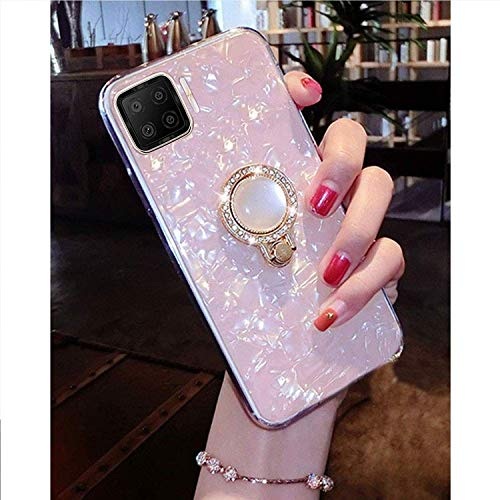 KC Dream Shell Pearl Stand Ring Holder Soft Silicone Semi Transparent Back Cover for Oppo F17 Pro (Pink Gold)