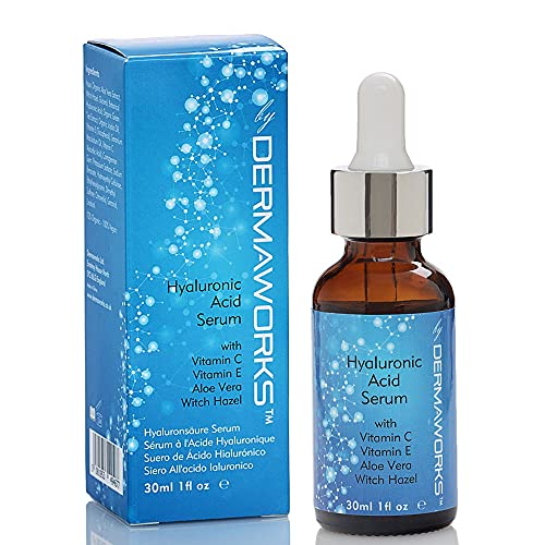 DERMAWORKS Hyaluronzuur Gezicht Serum + Vitamine C, Vitamine E, Aloë Vera, Jojoba-olie Anti-aging, Anti-rimpel